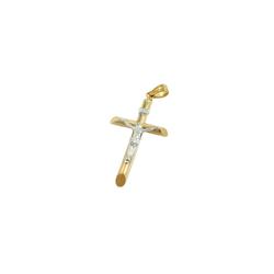 Gallay Kreuzanhänger 30x21mm Jesuskreuz bicolor mit Weißgold 9Kt GOLD