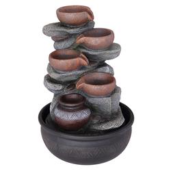Tisch-Brunnen Deko Springbrunnen LED Farbwechsel RGB Kleiner Zierbrunnen für zu Hause, Schalen schwarz grau, DxH 25x40 cm