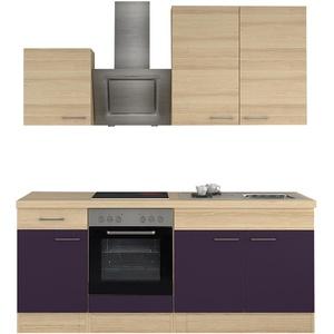 Miniküche Küchenzeile mit Elektrogeräten Einbauküche Küchenblock 210cm aubergine
