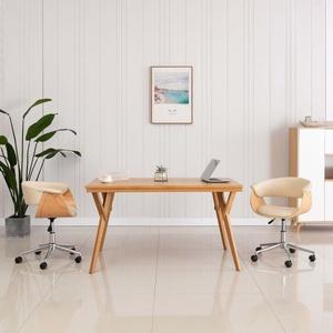 vidaXL Drehbare Esszimmerstühle 2 Stk. Creme Kunstleder