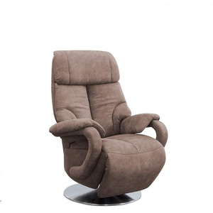 CAVADORE TV-Sessel Istanbul / Fernsehsessel mit manuell verstellbarer Relaxfunktion / 80 x 115 x 79 / Lederoptik: Hellbraun