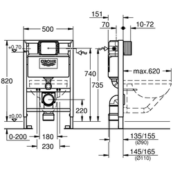 Grohe Vorwandelement WC Rapid SL, 1 St., Bauhöhe 82 cm