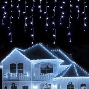 LED Lichtervorhang, 12M 300 Led 60 Tropfen 8 Modi Eisregen Vorhang Lichterkette wasserdicht Dekor außen & innen Lichterkettenvorhang für Weihnachten, Garten, Hochzeit, Party Dekorationen - Kaltweiß