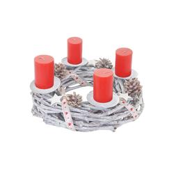 MCW Adventskranz T783, Ø 30 cm, Mit 4 Kerzenhaltern, Aufwendig geschmückt weiß