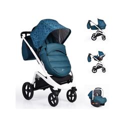 Moni Kombi-Kinderwagen Kombikinderwagen S-line 3 in 1, Faltverdeck, Fußsack, Babyschale, Wickeltasche blau