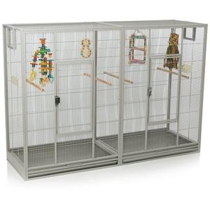Montana Cages Vogelkäfig Melbourne II - Platinum, Doppelkäfig, Käfig XL, Voliere für Sittiche & Finken