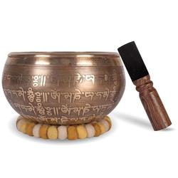 Große Tibetische Klangschale GOA - 16cm. Klangschalen Set mit Klöppel und Klangschalenkissen in Loktapapier Geschenk-Box. Singing Bowl