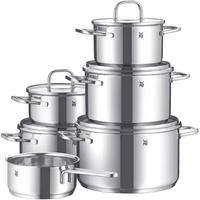 6-tlg. 3 x Fleischtopf + 2 x Bratentopf + Stielkasserolle + Besteckset 60-tlg.