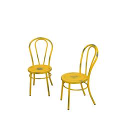 Stuhl Set in Gelb Stahl (2er Set)