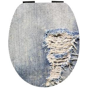 SITZPLATZ® WC-Sitz mit Absenkautomatik, Dekor Denim Blue, Soft-Touch Toilettensitz mit Holz-Kern, ovale O Form, Fast-Fix Schnellbefestigung, Toilettendeckel matt, 40697 0