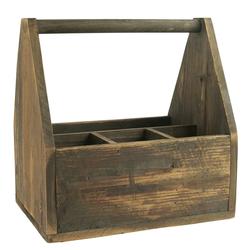 Ib Laursen Holzkiste Ib Laursen - Holzkorb Holzkiste mit 4 Fächer und Henkel 5223-14 Korb Kiste Holz