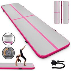 COSTWAY Gymnastikmatte 300 x 100 cm Air Track, Yogamatte rosa 100 cm x 400 cm x 10 cm
