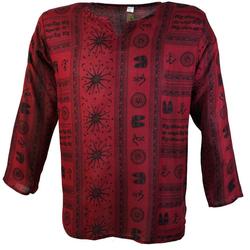 Guru-Shop Hemd & Shirt Yoga Hemd, Goa Hemd OM - rot rot XXL