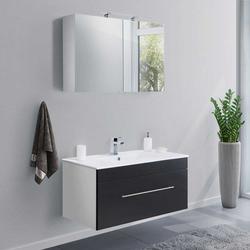 Waschtisch und Spiegelschrank in Schwarz Weiß (2-teilig)