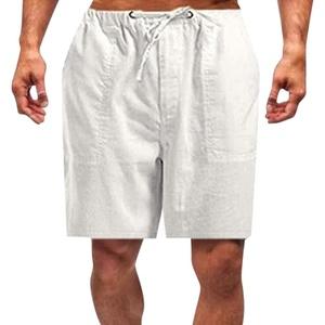 95sCloud Herren Leinenshorts Shorts aus 55% Leinen & 45% Polyester| Kurze Regular Fit Hose Leinen-Shorts Sommerhose Leinenhose Herrenshorts Short Men Pants Freizeithose kurz für Männer (Weiß, 5XL)