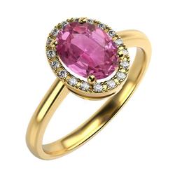 Goldener Verlobungsring mit rosa Saphir und Diamanten Yaras