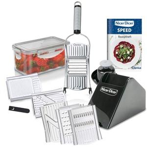 Genius Nicer Dicer Speed Deluxe-Set 13-teilig Handhobel V-Hobel - Verstellbarer Hobel manuell mit V-Klinge aus Edelstahl - Gemüseschneider Gemüsehobel mit Julienne-schneider