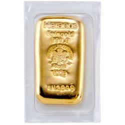 100 g Goldbarren Heraeus gegossen