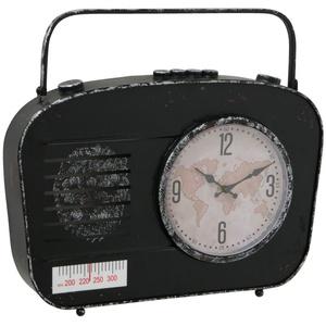 Tischuhr Vintage Retro Schrankuhr Wohnzimmer Standuhr klein, Radio Optik Used Look schwarz, Analog Batterie, LxBxH 43 x 8 x 38 cm,