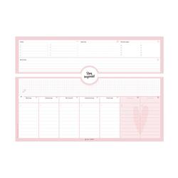 Schreibtischunterlage in pink/rosa aus Papier mit 50 Blatt zum Abreißen - Hochwertige Schreibtischunterlage im Format DIN A3