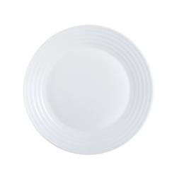 Arcoroc Speiseteller Stairo Uni, Teller flach 23.5cm Opalglas weiß 6 Stück Ø 23.5 cm x 2.1 cm
