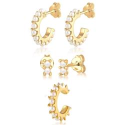 Elli Ohrring-Set Ohrringe Creolen Stecker Earcuff Perlen, 0301221020 (Set, 5-tlg), mit Kristallperlen