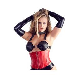 Leder-Korsett in Rot mit Zip