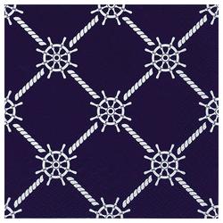 Linoows Papierserviette 20 Servietten Maritime Symbole, Steuerräder und, Motiv Maritime Symbole, Steuerräder und Tauwerk