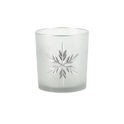 Basispreis* Teelichthalter  Eiskristall ¦ weiß ¦ Glas  ¦ Maße (cm): H: 8 Ø: [7.0]