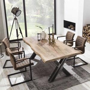 Baumkanten Sitzgruppe aus Mangobaum Massivholz Braun Kunstleder (fünfteilig)