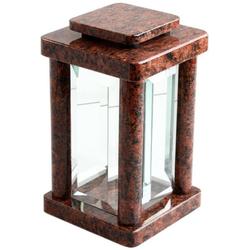 KOKA Laterne Grab-Lampe Granit Friedhof-Leuchte eckig modern hochwertig Glas, Grabschmuck rot