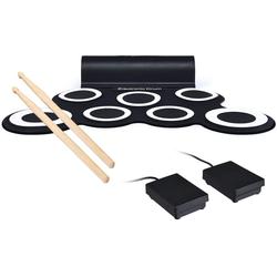 COSTWAY Elektrisches Schlagzeug E-Drum elektronisches Schlagzeug Set Roll-Up-Trommel, inkl. 2 Pedale und Drumsticks, mit 5 Töne 8 Demos, 7 Pads weiß