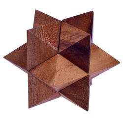 Logoplay Holzspiele Spiel, Stern Gr. M - Star - 3D Puzzle - Denkspiel - Knobelspiel - Geduldspiel - Logikspiel aus Holz Holzspielzeug