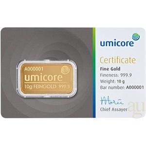 10 Gramm Goldbarren Umicore