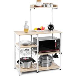 COSTWAY Küchenregal Küchenregal, mit Metallkorb und 5 Haken, Mikrowelleregal mit verstellbaren Füßen beige