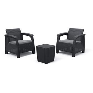 Alibert by Keter Corfu 2er Set Gartenstuhl aus Kunstoff + Gartentisch Luzon Flat Wicker