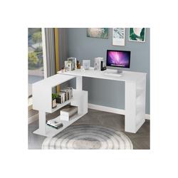 PHOEBE CAT Eckschreibtisch, L-förmiger Computertisch Bürotisch Schreibtisch Gaming Tisch, 360-Grad-Drehung, offene Regale zur Aufbewahrung weiß