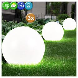 etc-shop LED Gartenstrahler, LED Außenleuchte Außenbeleuchtung Beleuchtung Gartenleuchte Solar Leuchte Kugelform 3er Set