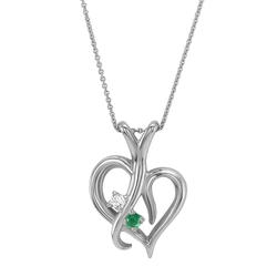 Goldherz mit Smaragd und Diamant in einer Halskette Lynelle