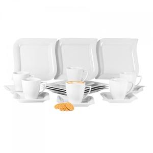 Kaffeeservice Opera 18-teilig eckig Porzellan für 6 Personen weiß geschwungene Kanten