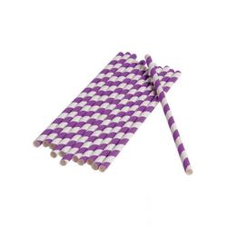 Horror-Shop Einweggeschirr-Set Violett-weiße Party Strohhalme aus Papier 12 Stück, Papier