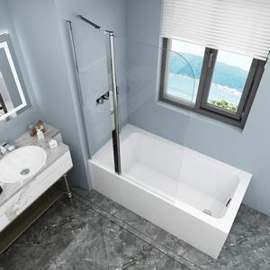 Badewannen Duschabtrennung Sicherheitsglas hell,Duschwand Duschabtrennung Nano Glas (mit Stabilisierungsstange100x140cm)