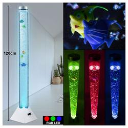 etc-shop Stehlampe, LED RGB Wasser Säule klar Deko Fische Steh Lampe Kabel Schalter Farbwechsel