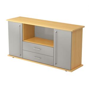 Hammerbacher Sideboard SB / 2 Türen und 2 Schubladen / Dekor: Buche/Silber / Griff: Relinggriff