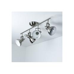 Licht-Erlebnisse Deckenstrahler GINA Wand und Deckenstrahler Nickel schwenkbar retro Vintage Lampe