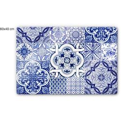 Wall-Art Herd-Abdeckplatte Spritzschutz Küche Vintage Blau, Glas, (1 tlg) 80 cm x 60 cm x 0,4 cm