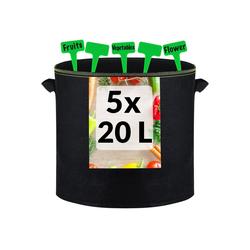 Praknu Pflanzkübel 20 Liter - 5 Pflanzsack Schwarz (Set, 5 Stück, 5er Set Pflanzensack 20L), aus Vliesstoff mit Pflanzenschilder zum Beschriften - Mit Griff - Für Gemüse und Pflanzen