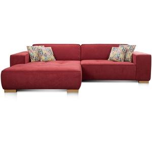 """Cavadore Ecksofa """"Zappo"""" mit Federkern und XXL Longchair / XXL Sofa L-Form mit tiefen Sitzflächen / Modernes Design / 293 x 78 x 172 cm / Rot"""