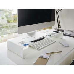 Yamazaki Tower Monitor-Halterung, (Schreibtischaufsatz, Monitorerhöhung, Bildschirm Ablage) weiß