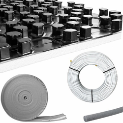 96 m² Fußbodenheizung-Set - Noppensystem - 11 mm Wärme-Dämmung - hohe Tragkraft